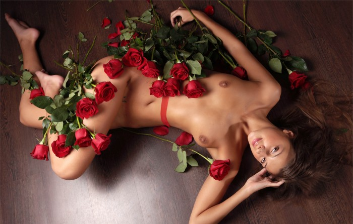 Sexy Brunette Masha with Roses