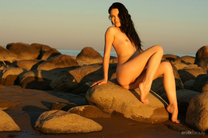 Hot Brunette Olka At The Beach