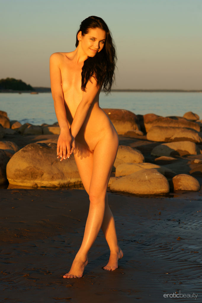Hot Brunette Olka Naked At The Beach